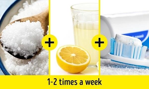 Dùng muối biển, nước chanh và kem đánh răng để làm răng trắng tại nhà